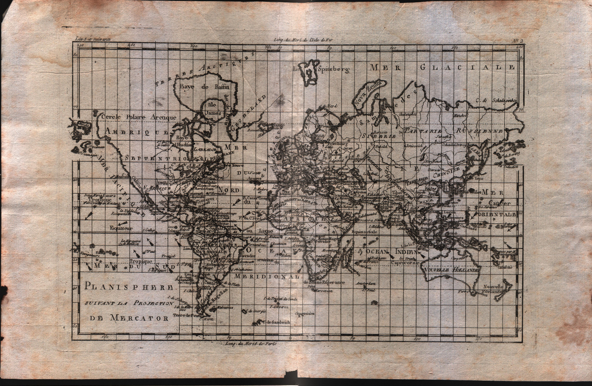 Planisphere suivant la projection de Mercator